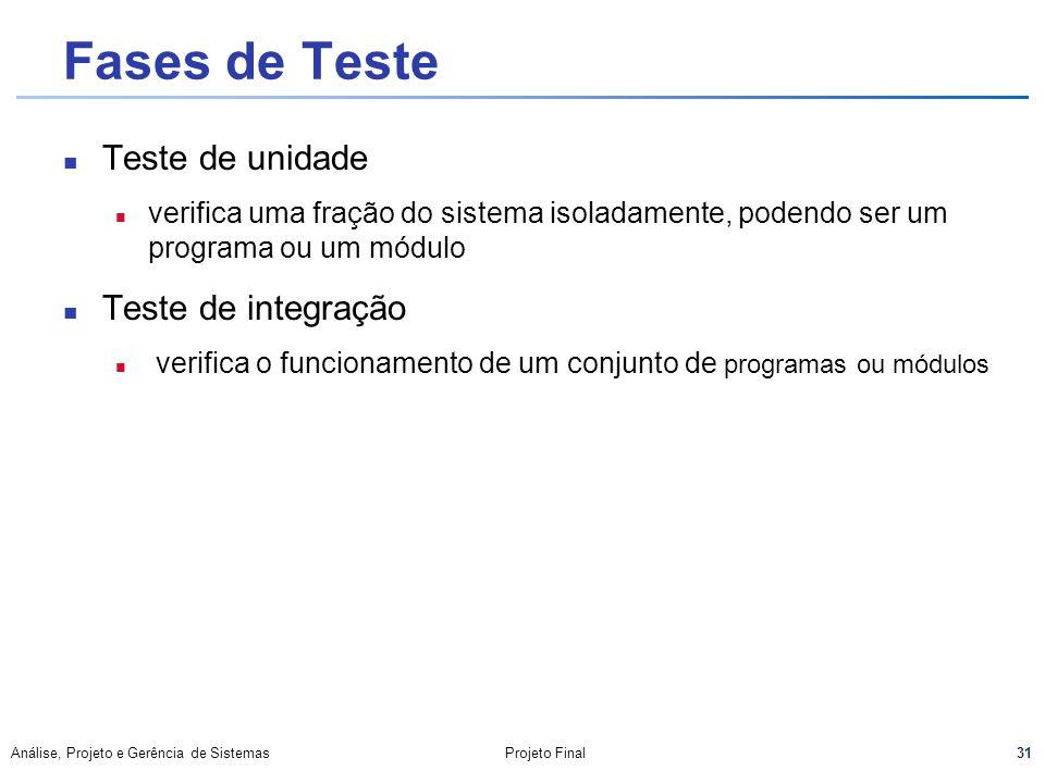 Fases de Teste Teste de unidade Teste de integração