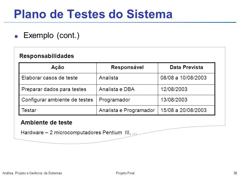 Plano de Testes do Sistema