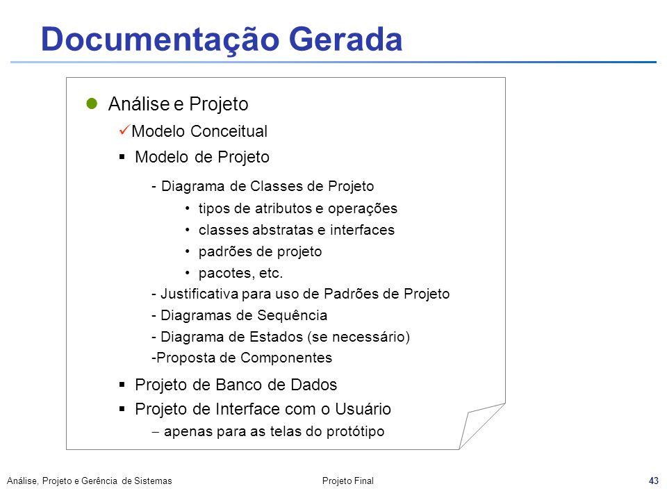 Documentação Gerada Análise e Projeto Modelo Conceitual