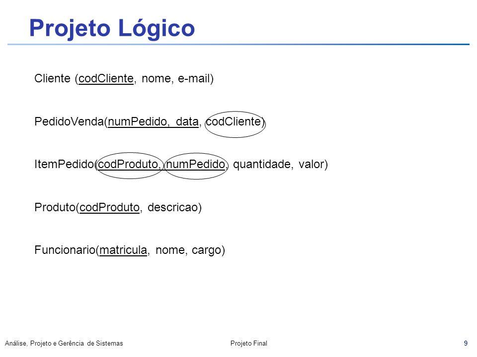 Projeto Lógico Cliente (codCliente, nome, e-mail)