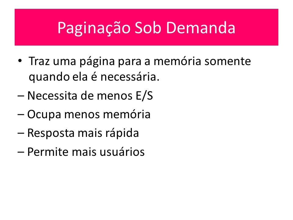 Paginação Sob Demanda Traz uma página para a memória somente quando ela é necessária. – Necessita de menos E/S.