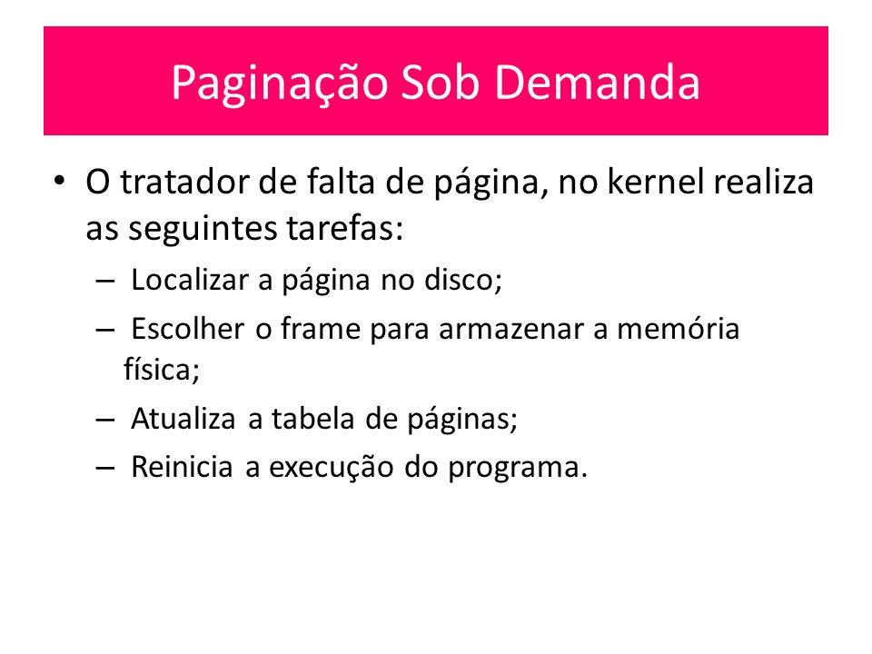 Paginação Sob Demanda O tratador de falta de página, no kernel realiza as seguintes tarefas: Localizar a página no disco;