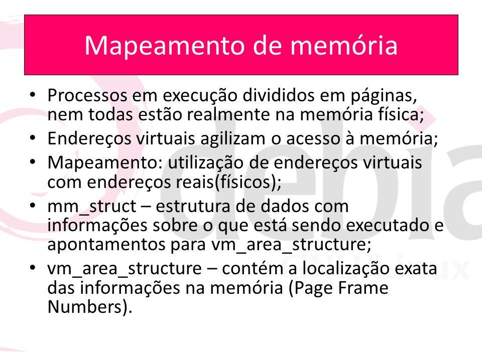 Mapeamento de memória Processos em execução divididos em páginas, nem todas estão realmente na memória física;