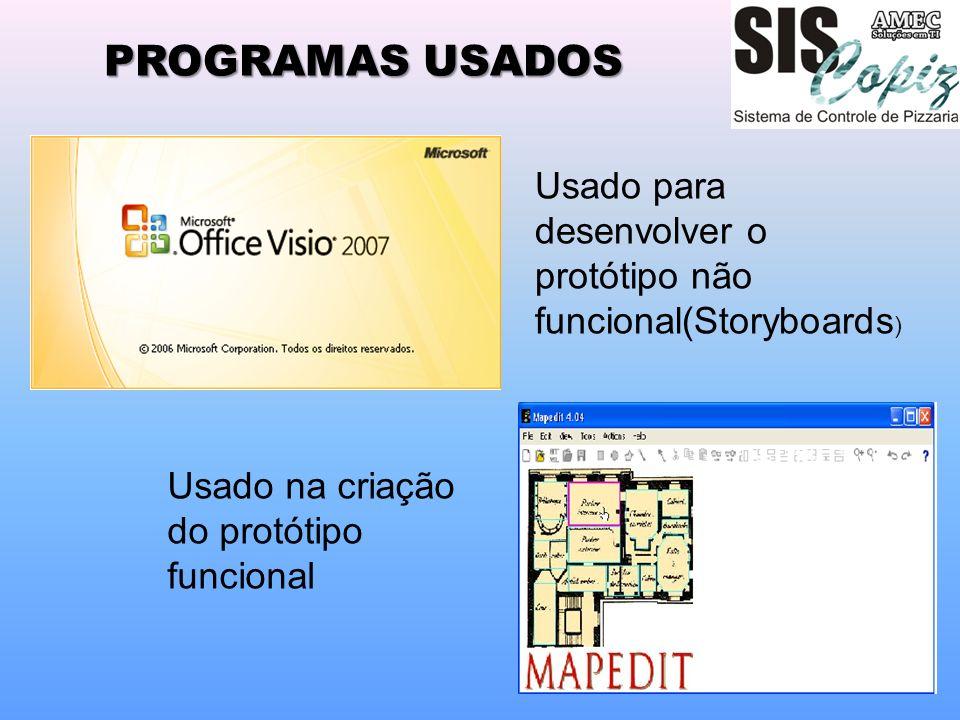 PROGRAMAS USADOS Usado para desenvolver o protótipo não funcional(Storyboards) Usado na criação do protótipo funcional.