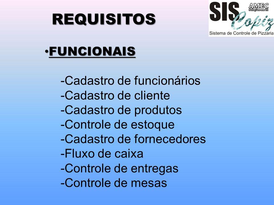 REQUISITOS FUNCIONAIS -Cadastro de funcionários -Cadastro de cliente