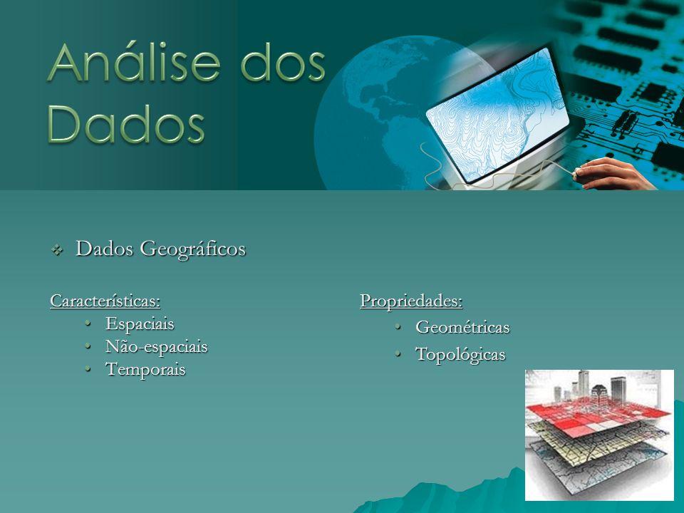 Análise dos Dados Dados Geográficos Características: Propriedades: