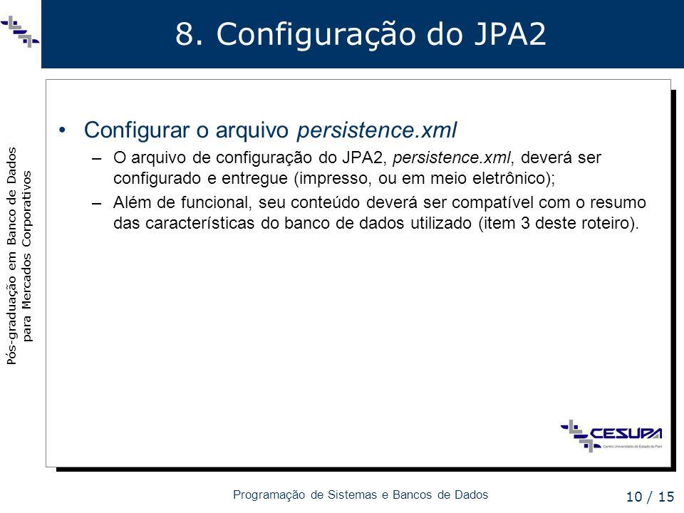 8. Configuração do JPA2 Configurar o arquivo persistence.xml