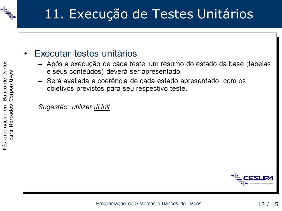 11. Execução de Testes Unitários