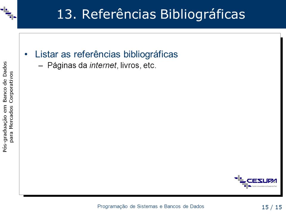 13. Referências Bibliográficas