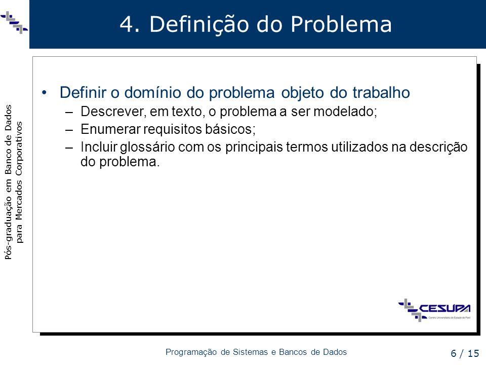 4. Definição do ProblemaDefinir o domínio do problema objeto do trabalho. Descrever, em texto, o problema a ser modelado;
