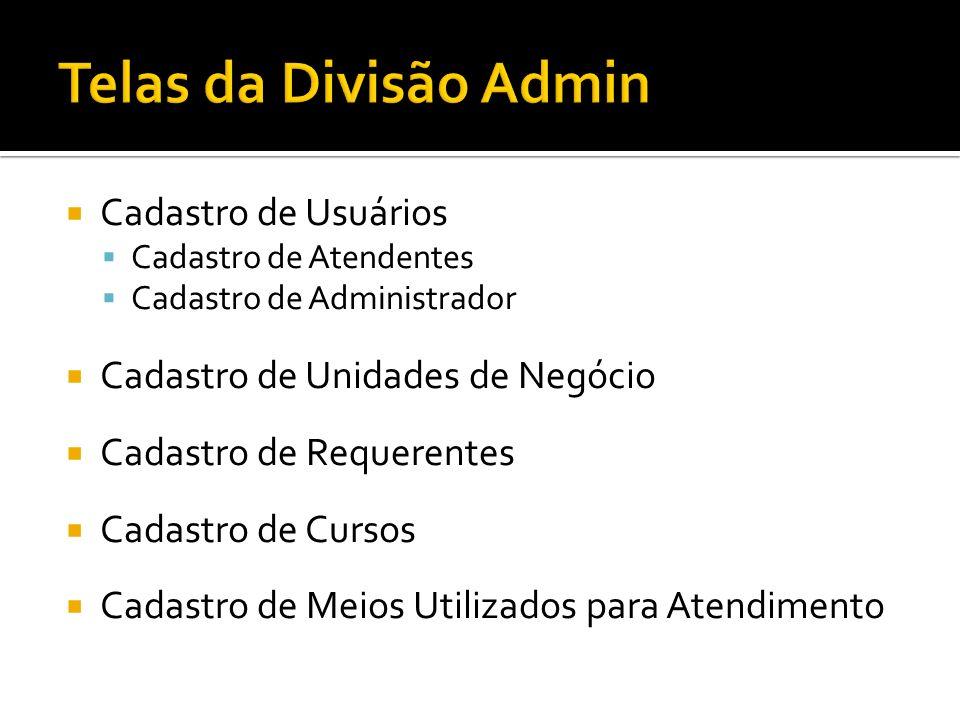 Telas da Divisão Admin Cadastro de Usuários