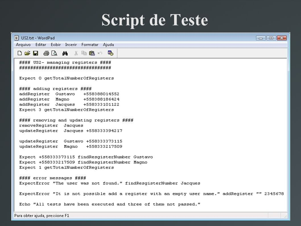Script de Teste