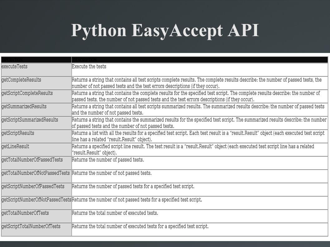 Python EasyAccept API