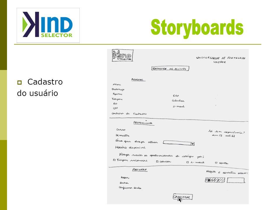Storyboards Cadastro do usuário