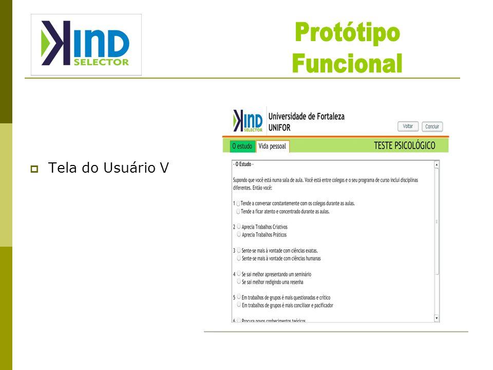 Protótipo Funcional Tela do Usuário V
