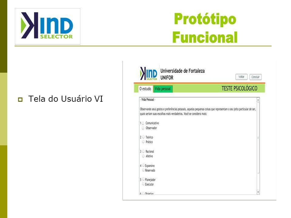 Protótipo Funcional Tela do Usuário VI