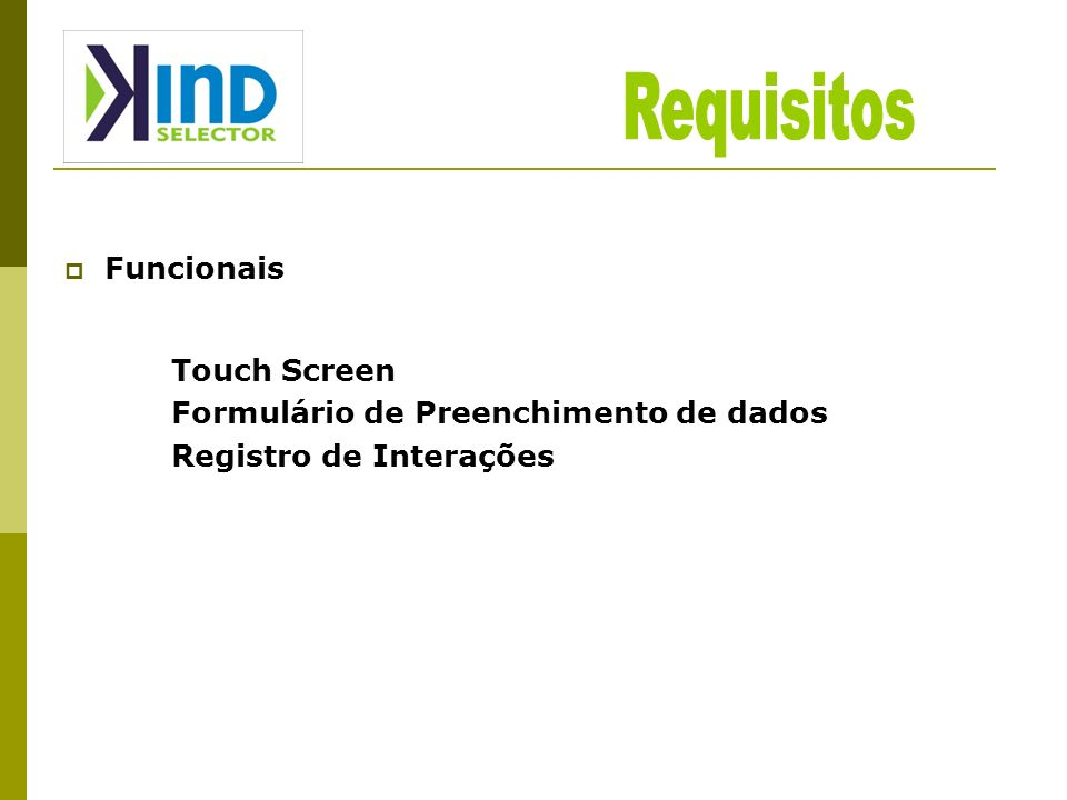 Requisitos Funcionais Touch Screen