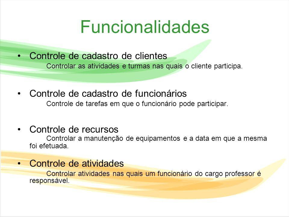Funcionalidades Controle de cadastro de clientes
