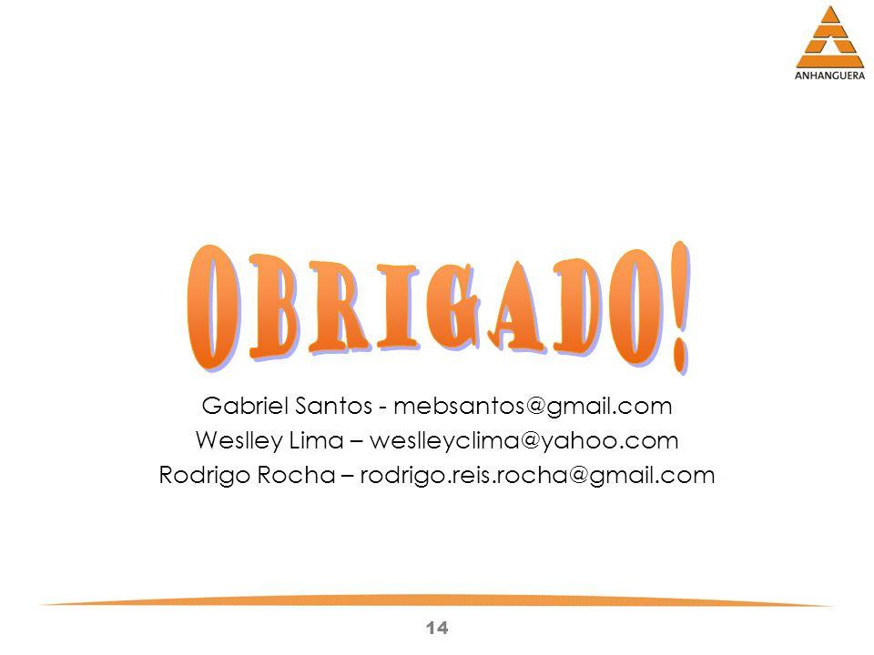Obrigado! Gabriel Santos - mebsantos@gmail.com