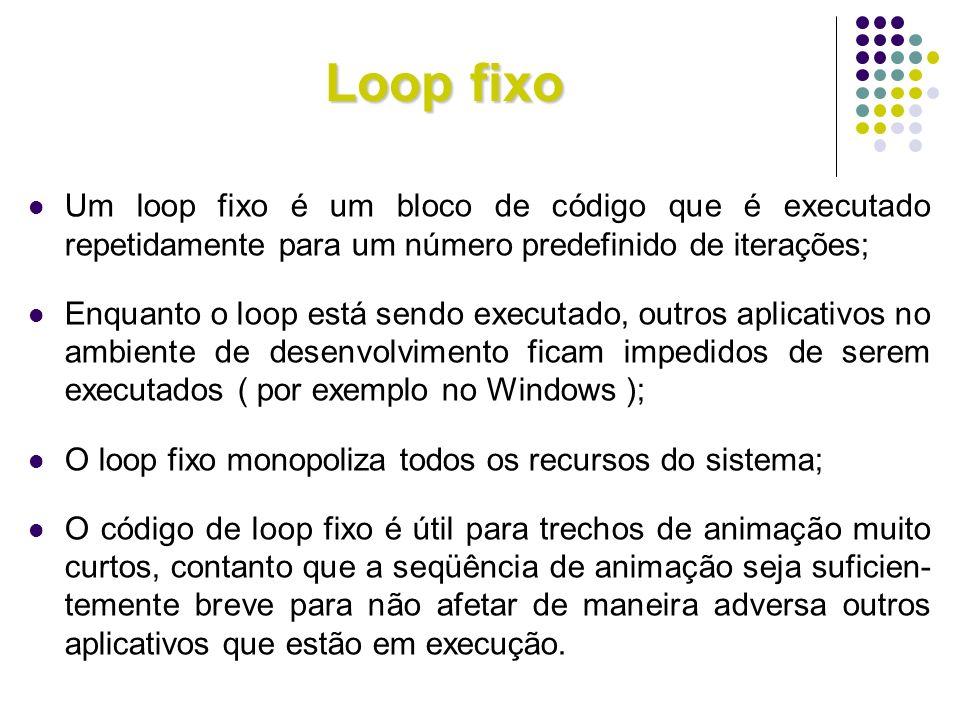 Loop fixoUm loop fixo é um bloco de código que é executado repetidamente para um número predefinido de iterações;