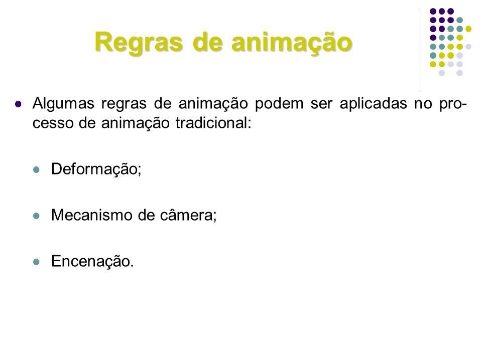 Regras de animação Algumas regras de animação podem ser aplicadas no pro-cesso de animação tradicional:
