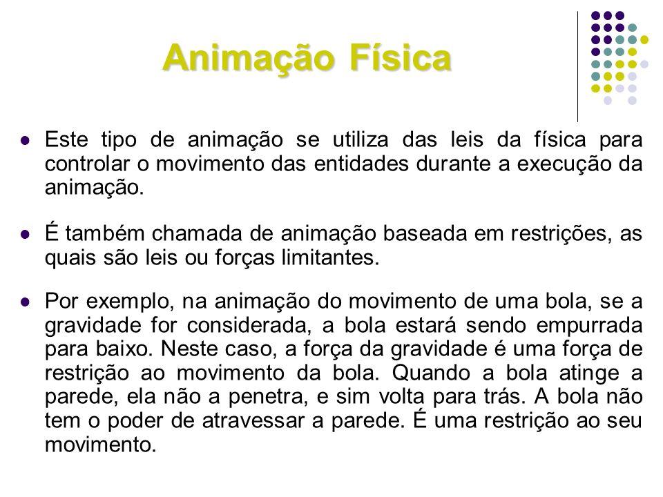 Animação Física Este tipo de animação se utiliza das leis da física para controlar o movimento das entidades durante a execução da animação.