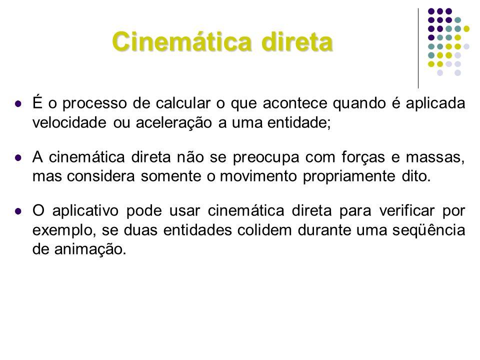 Cinemática diretaÉ o processo de calcular o que acontece quando é aplicada velocidade ou aceleração a uma entidade;