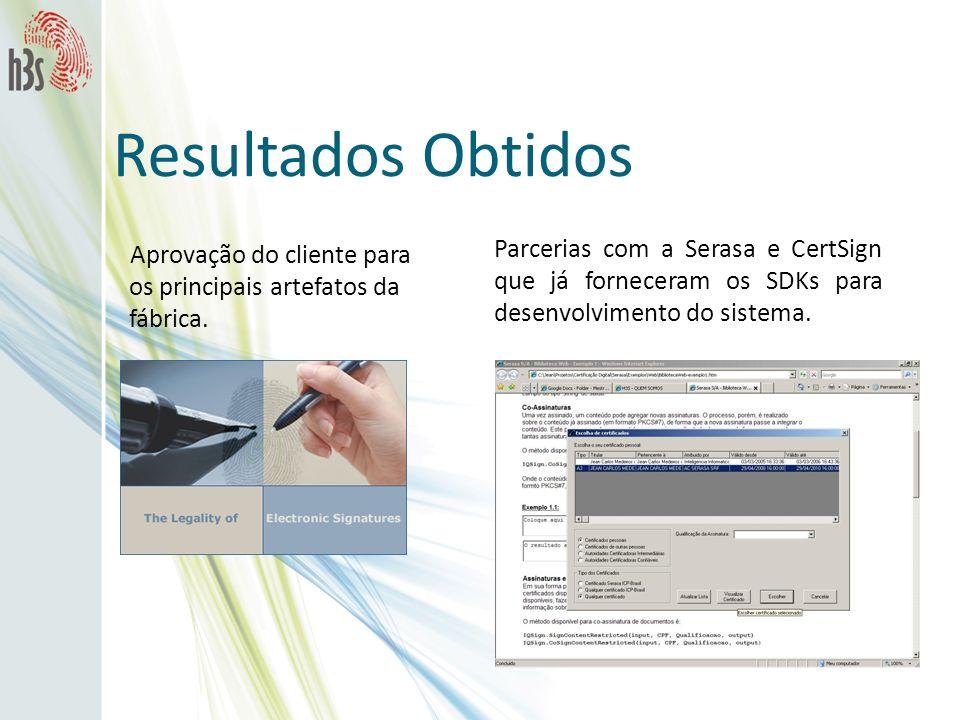Resultados ObtidosAprovação do cliente para os principais artefatos da fábrica.