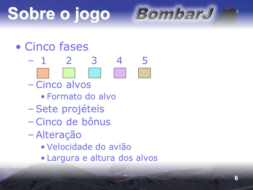 Sobre o jogo Cinco fases 1 2 3 4 5 Cinco alvos Sete projéteis