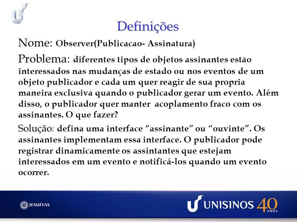 Definições Nome: Observer(Publicacao- Assinatura)