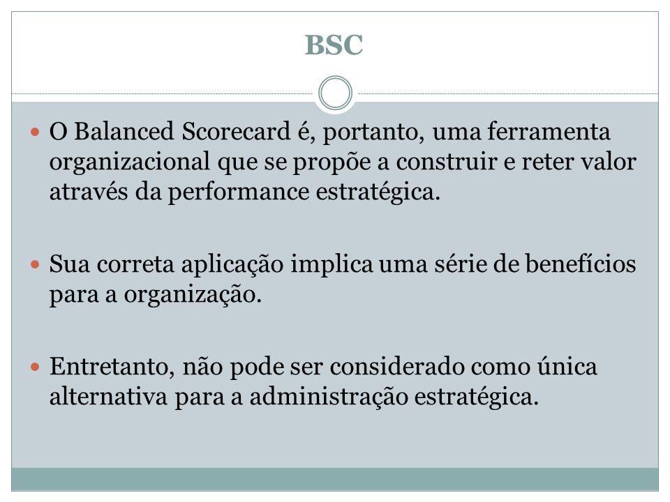 BSC O Balanced Scorecard é, portanto, uma ferramenta organizacional que se propõe a construir e reter valor através da performance estratégica.