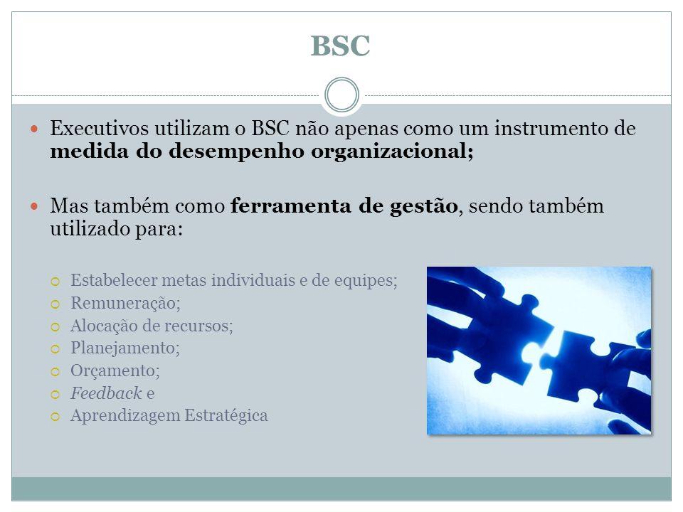 BSC Executivos utilizam o BSC não apenas como um instrumento de medida do desempenho organizacional;