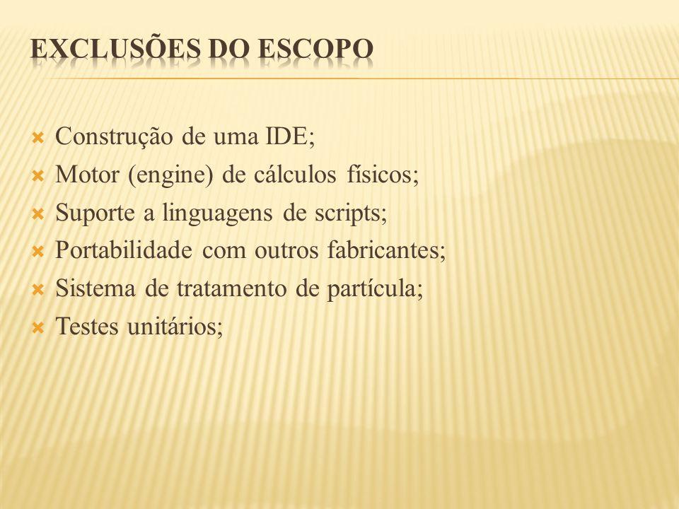 Exclusões do Escopo Construção de uma IDE;