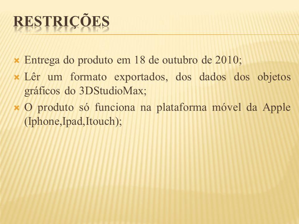Restrições Entrega do produto em 18 de outubro de 2010;