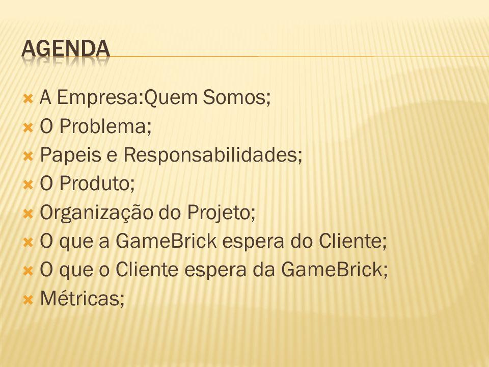 Agenda A Empresa:Quem Somos; O Problema; Papeis e Responsabilidades;