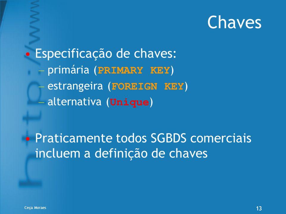Chaves Especificação de chaves:
