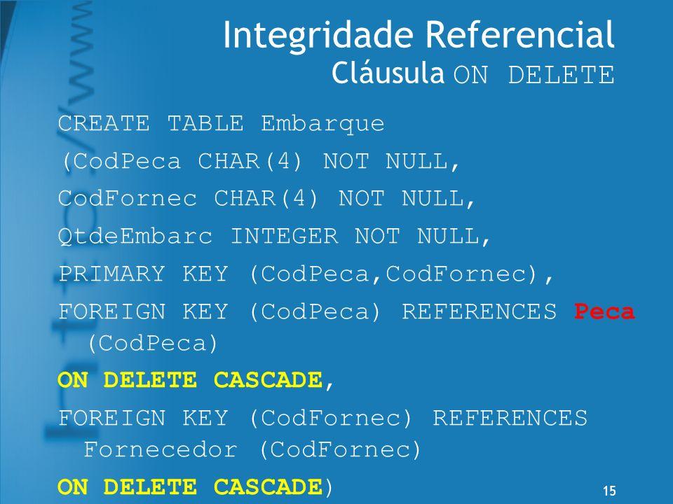 Integridade Referencial Cláusula ON DELETE