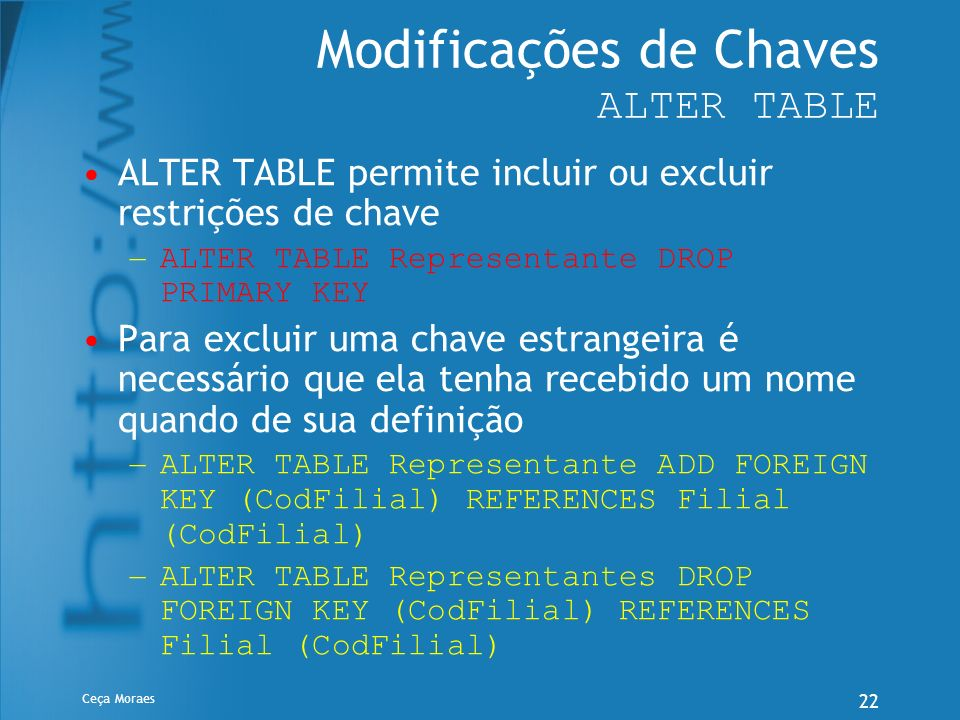 Modificações de Chaves ALTER TABLE