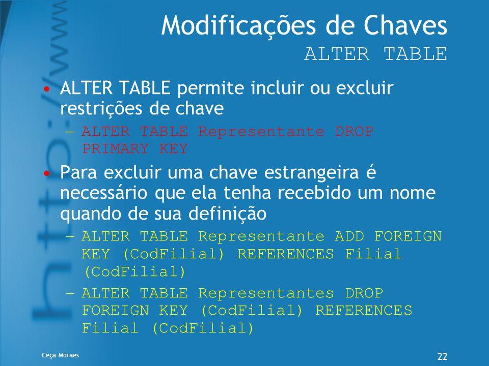 Modificações de Chaves ALTER TABLE