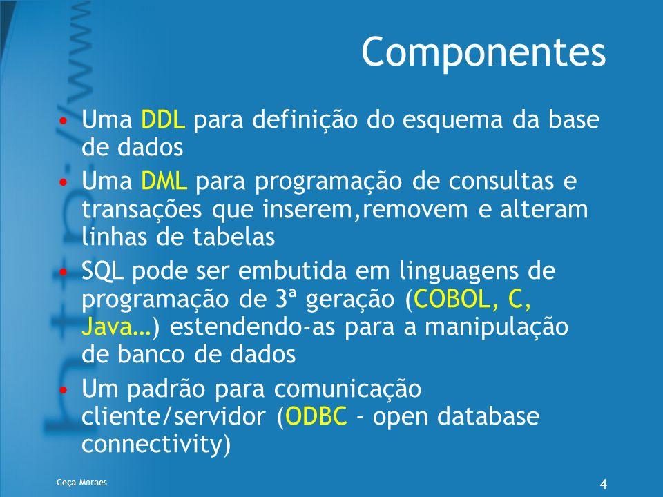 Componentes Uma DDL para definição do esquema da base de dados
