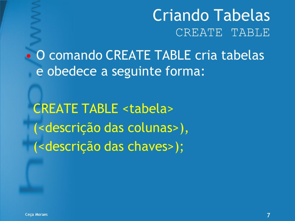 Criando Tabelas CREATE TABLE