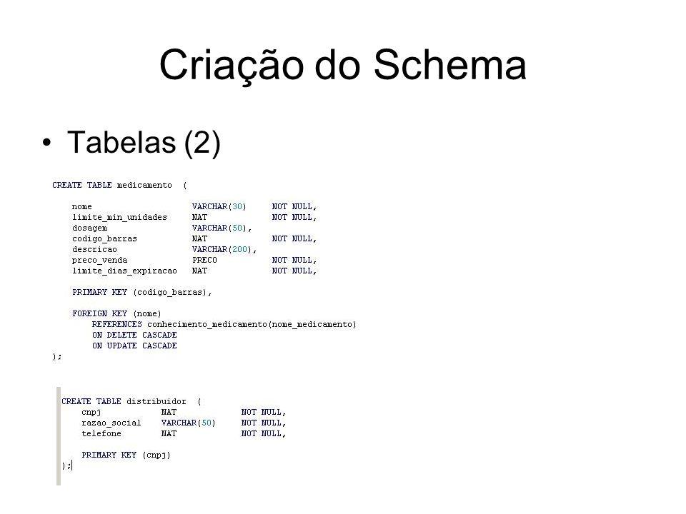 Criação do Schema Tabelas (2)