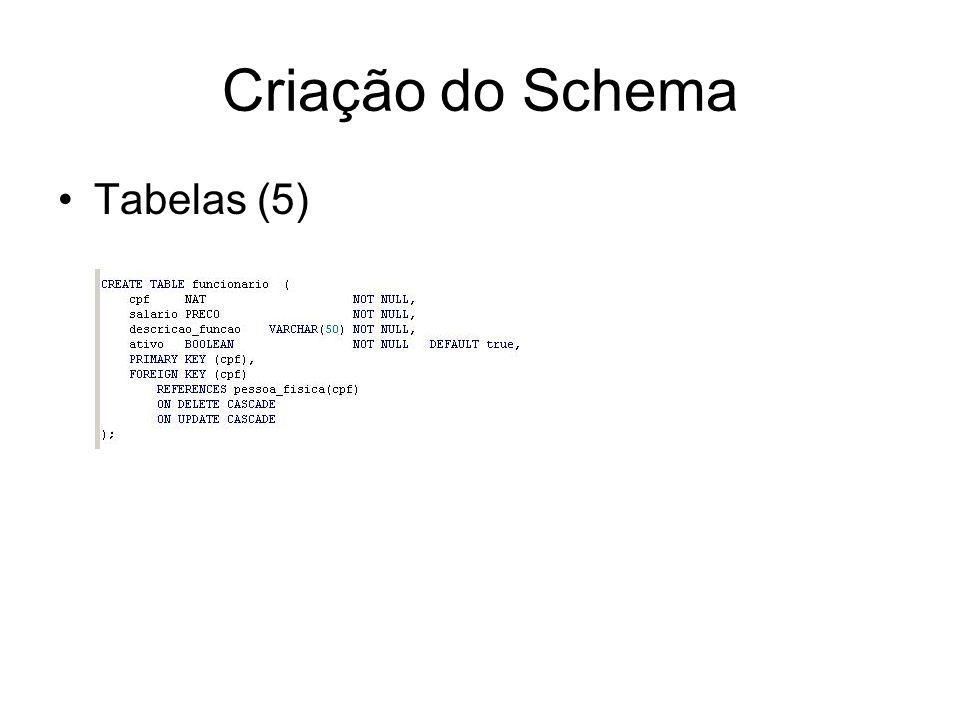 Criação do Schema Tabelas (5)