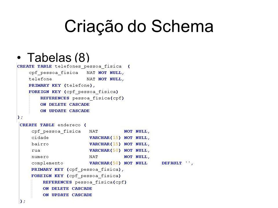 Criação do Schema Tabelas (8)