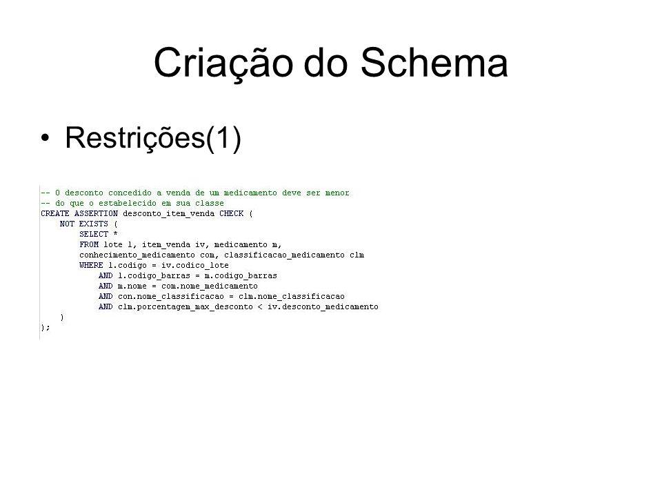 Criação do Schema Restrições(1)