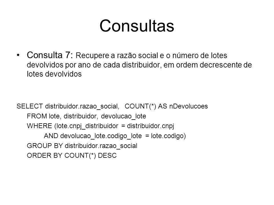 Consultas Consulta 7: Recupere a razão social e o número de lotes devolvidos por ano de cada distribuidor, em ordem decrescente de lotes devolvidos.