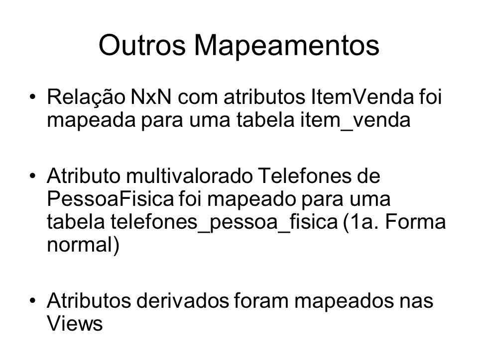 Outros Mapeamentos Relação NxN com atributos ItemVenda foi mapeada para uma tabela item_venda.