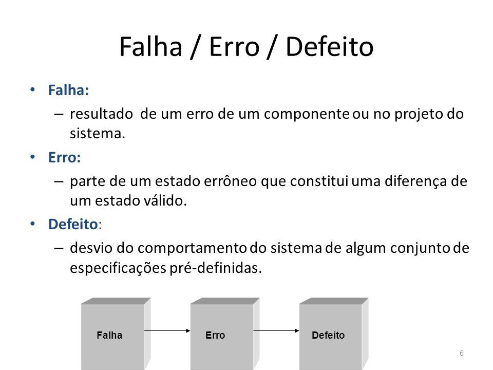 Falha / Erro / Defeito Falha: