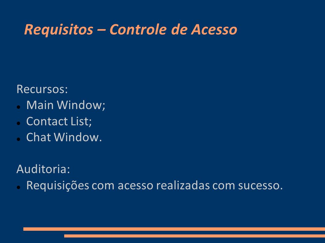 Requisitos – Controle de Acesso