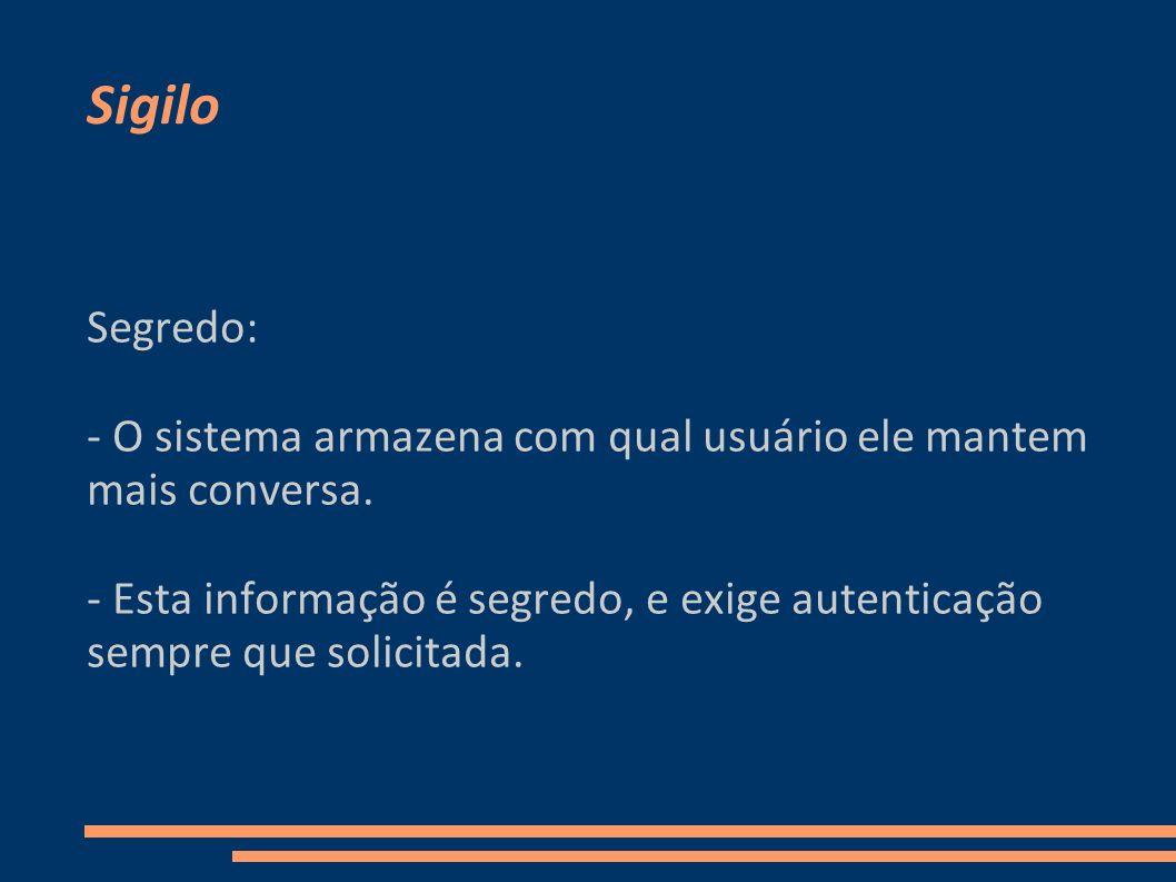 Sigilo Segredo: - O sistema armazena com qual usuário ele mantem mais conversa.